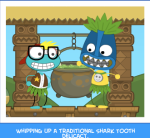 Whipping up a traditional Shark Tooth delicacy.