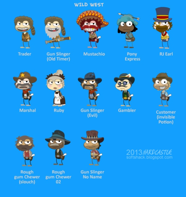 Wild West Island characters