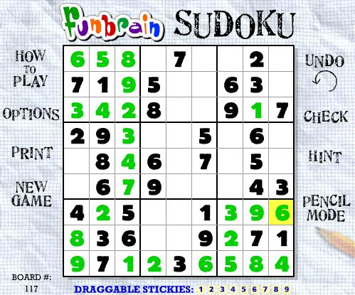 Funbrain Sudoku