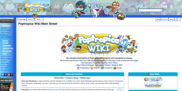 PoptropicaWikiWebsiteDesign