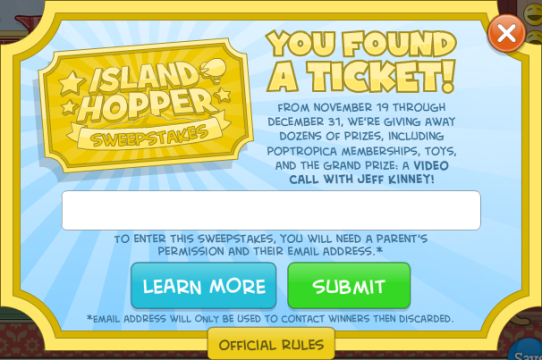 IslandHopperSweepstakesFoundATicketScreenReverieLoungeGiantHawk