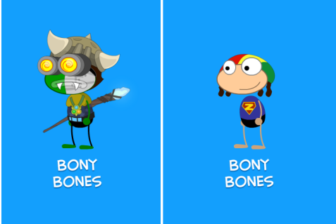 Bony Bones's Current Look & Original Look