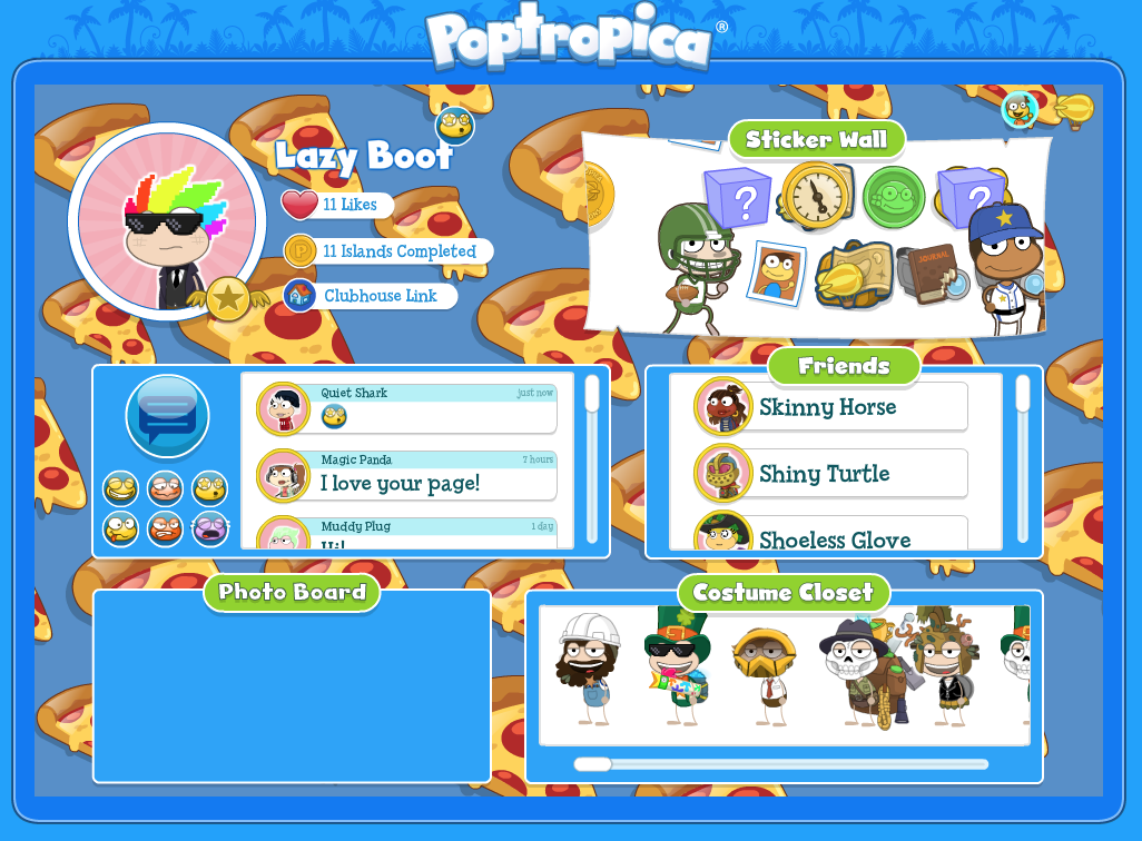 Poptropica Player Wall